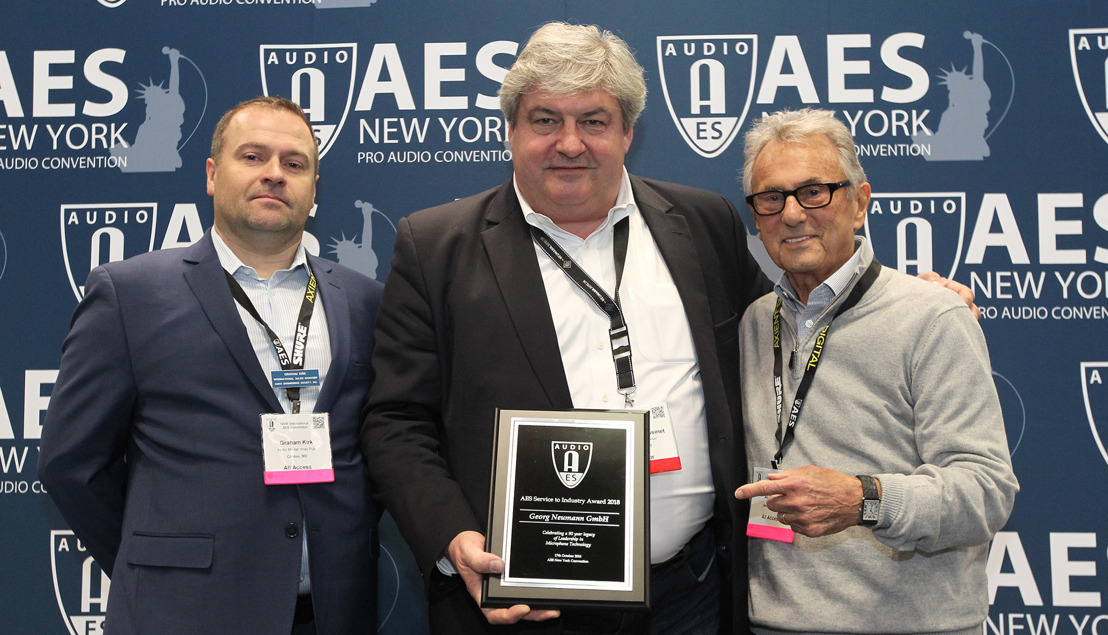 NEUMANN HONORED WITH 90TH ANNIVERSARY 'SERVICE TO INDUSTRY' AWARD DURING AES 145TH PRO AUDIO CONVENTION IN NEW YORK CITY