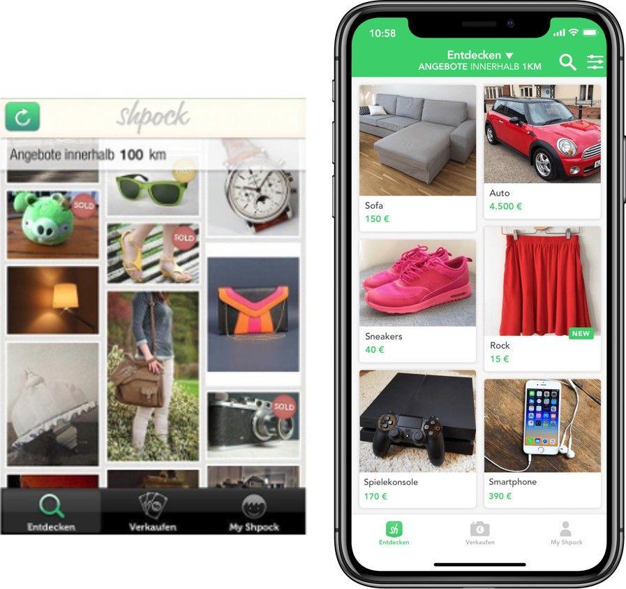 Die Evolution von Shpock: Links die App-Version aus 2012 und auf der rechten Seite die aktuelle App-Ansicht