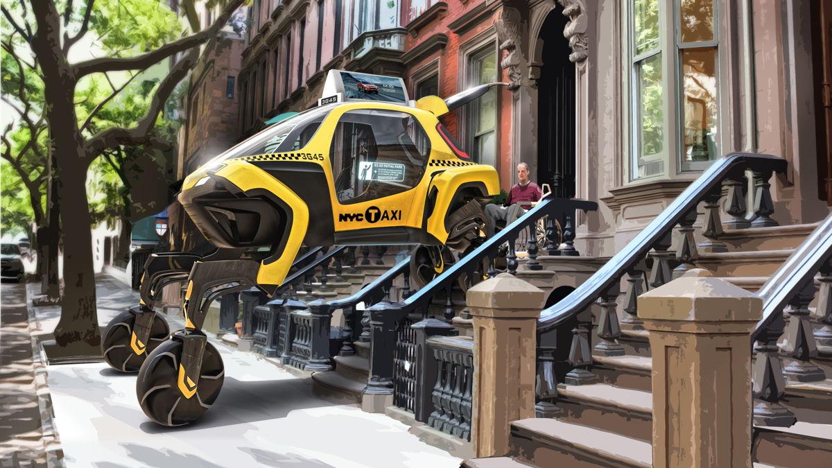 El concepto Hyundai Elevate Concept ayuda a una persona a acudir a una cita médica en una ciudad.