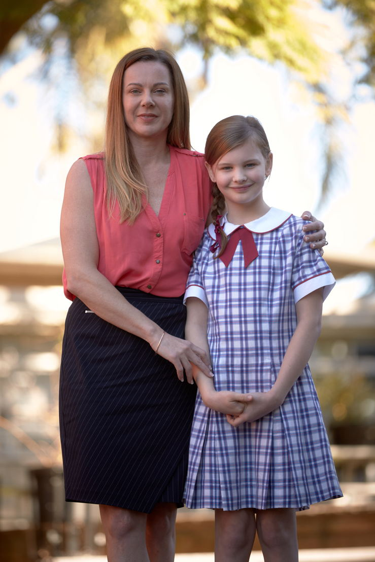 """Amanda (Joanne Hunt) and Hannah (Evie Macdonald) in """"First Day""""."""