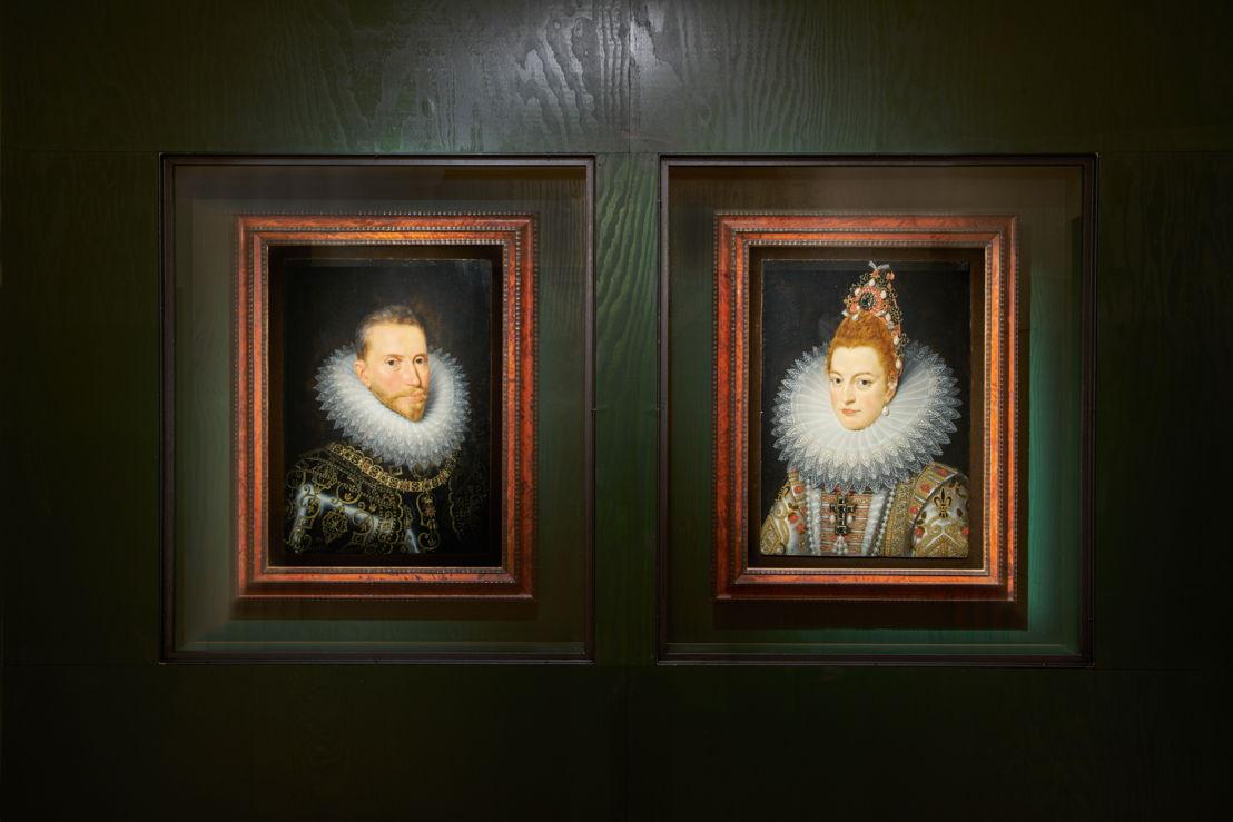 D'APRÈS FRANS II POURBUS. Portrait de l&#039;archiduc Albert &amp; Portrait de l&#039;archiduchesse Isabelle. <br/>Première moitié du 17ième siècle, Groeningemuseum, Brugge<br/>(c) Dirk Pauwels
