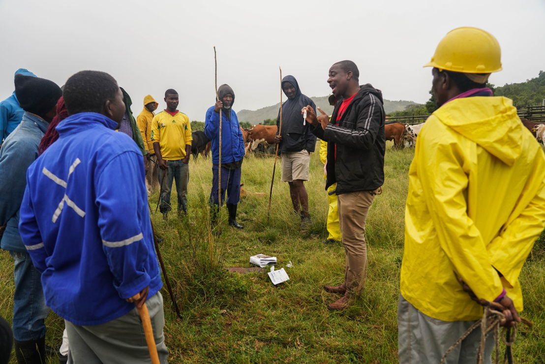 A health promoter is explaining the HIV oral self testing to the famers at the « Dip Tank », Shiselweni region.<br/>The « Dip tank » is a traditional farmers meeting to disinfect the cattle. MSF in Eswatini use the event in its strategy to gather and sensitize young people that are hard to reach. MSF health promoters provide counseling about HIV and TB and consultations. In 2018, MSF has started offering oral HIV self-tests to people at risk, such as young men. Many say they cannot go to a health centre for testing during work hours and the HIVST allows people to get tested in the comfort of their home. <br/><br/>MSF has been present in Eswatini (ex Swaziland) since 2007 to support the Ministry of Health in fighting the dual epidemics of HIV and TB in the small landlocked kingdom. Eswatini has one of the world&#039;s highest rate of HIV affecting roughly one in three adults.. It also has one of the highest rates of TB. MSF has used innovative approaches to curb the two diseases (PMTCT B+, Test and Treat, community based treatment, task-shifting, etc). Many of the approaches initiated by MSF are now part of the national health programme, and people in Eswatini have much greater access to treatment. Photographer: Fanny Hostettler