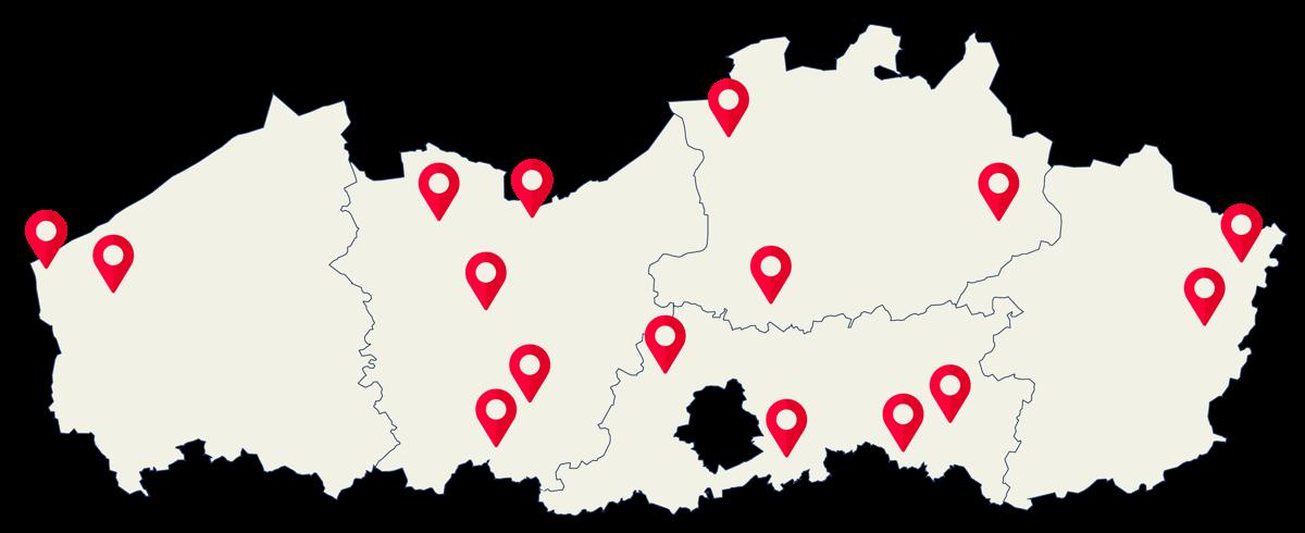 Deelnemende teams (28) kwamen van scholen (16) van over heel Vlaanderen