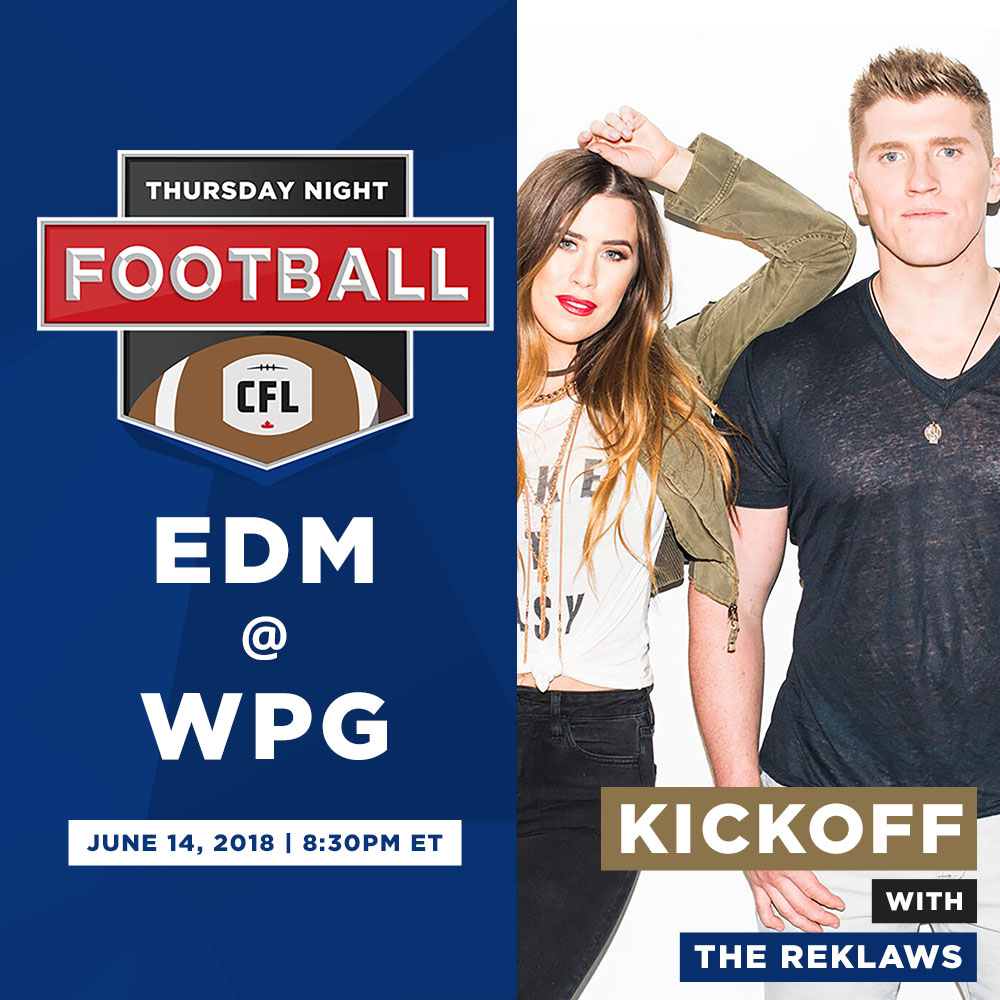 'The Reklaws' will perform at halftime on June 14th in Winnipeg.