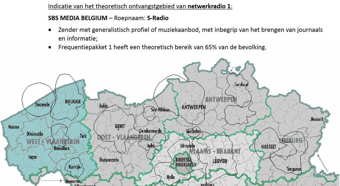 Indicatie van het theoretisch ontvangstgebied van netwerkradio 1