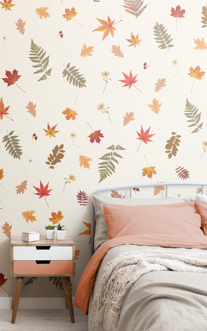 Pressed leaf wallpaper is the perfect way to get a home in the Autumn mood