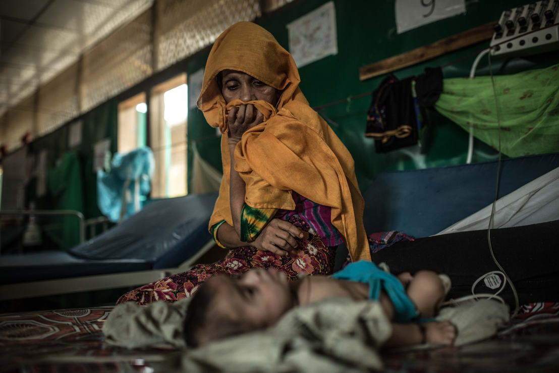Ansar and her three-month-old son Salim Ullah inside the MSF hospital in Goyalmara. Photographer: Pablo Tosco