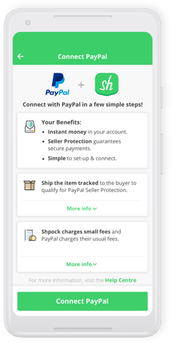 Shpock offers PayPal as a payment method