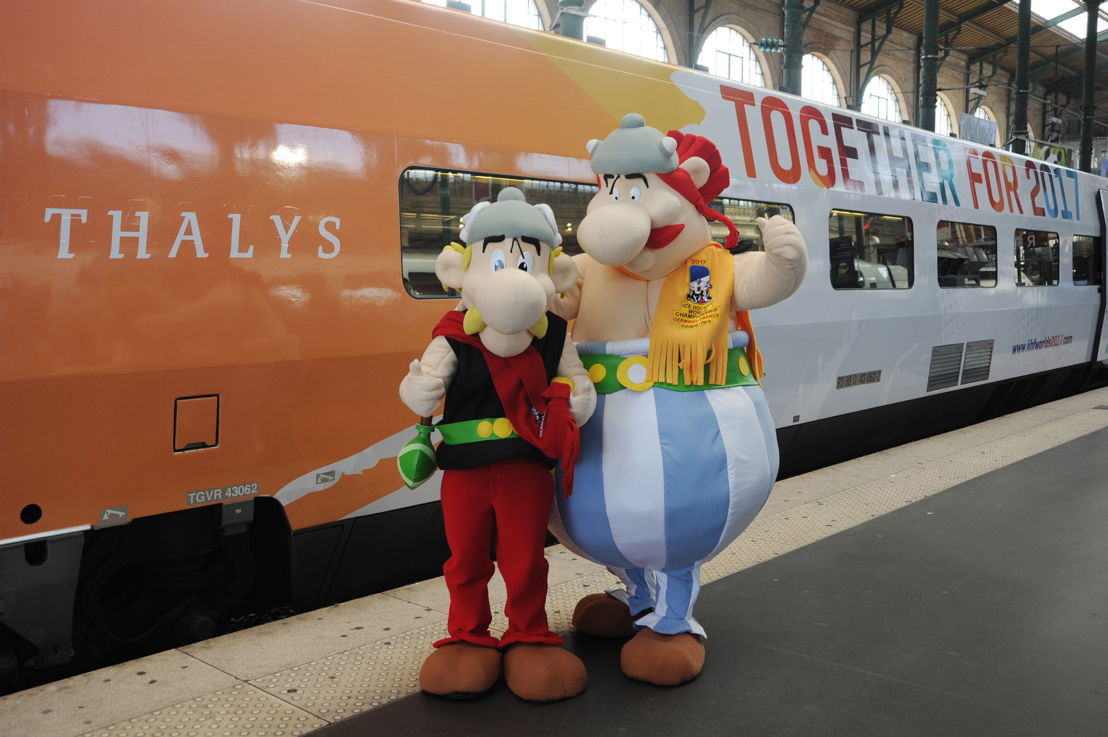 Asterix &amp; Obelix, de officiële mascottes van het Wereldkampioenschap Ijshockey 2017.<br/>©EricBernard