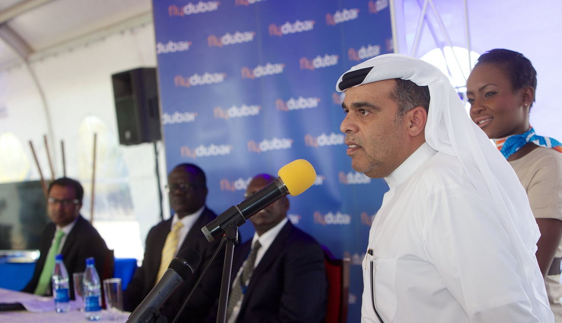 Hamad Obaidalla speaking at the press conference in Entebbe