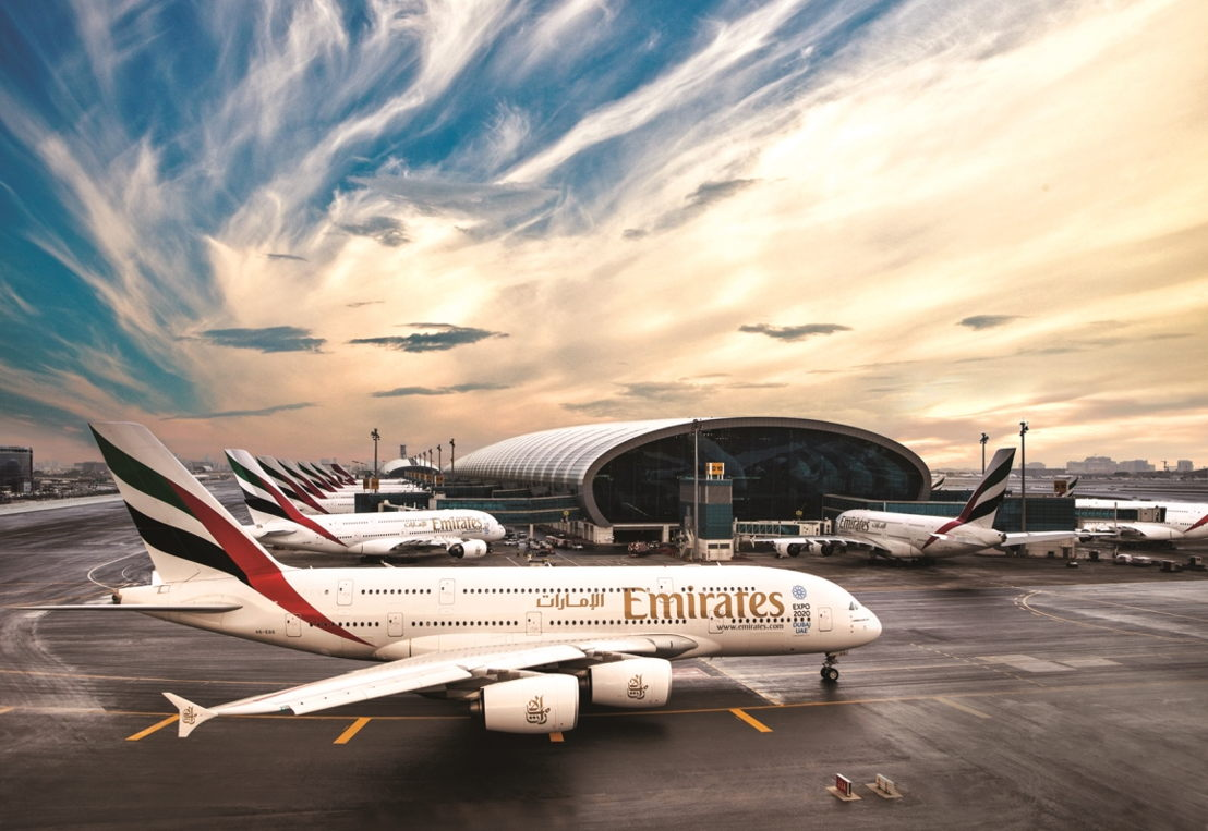Emirates A380s at Dubai International Airport.