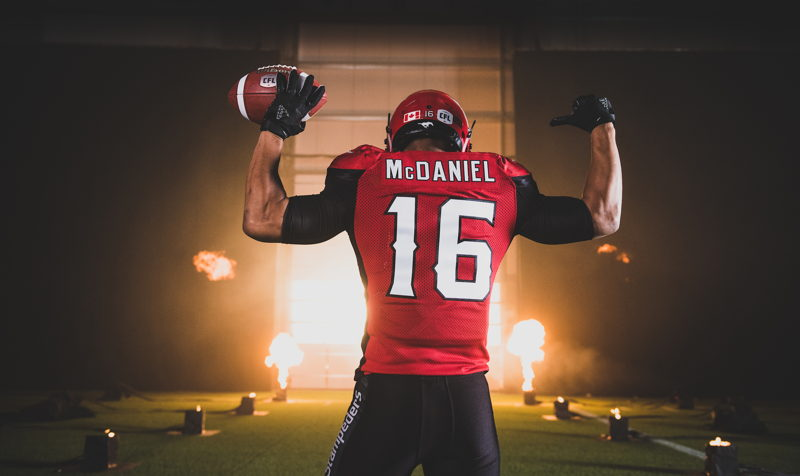 Marquay McDaniel at the TSN/adidas content shoot. Photo credit: Johany Jutras/CFL