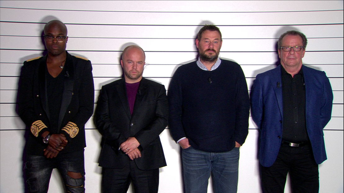 Aflevering 1: Jandino Asporaat, Sven De Ridder, Bart De Pauw en Walter Grootaers<br/>De allesweter (c) VRT