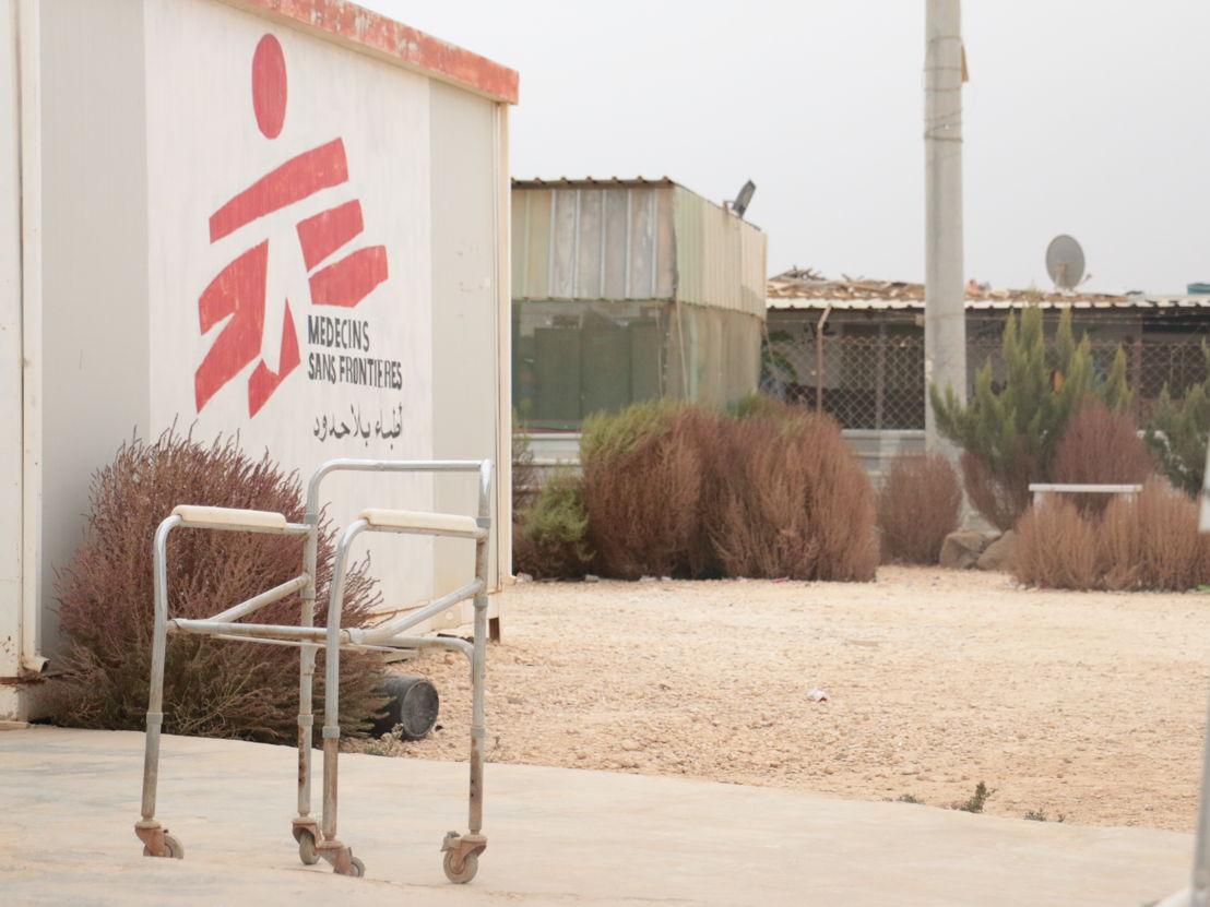 Een verlaten looprek in de postoperatieve kliniek van Artsen zonder Grenzen in het Zaatari opvangkamp voor Syrische oorlogsvluchtelingen. 29 november 2016.