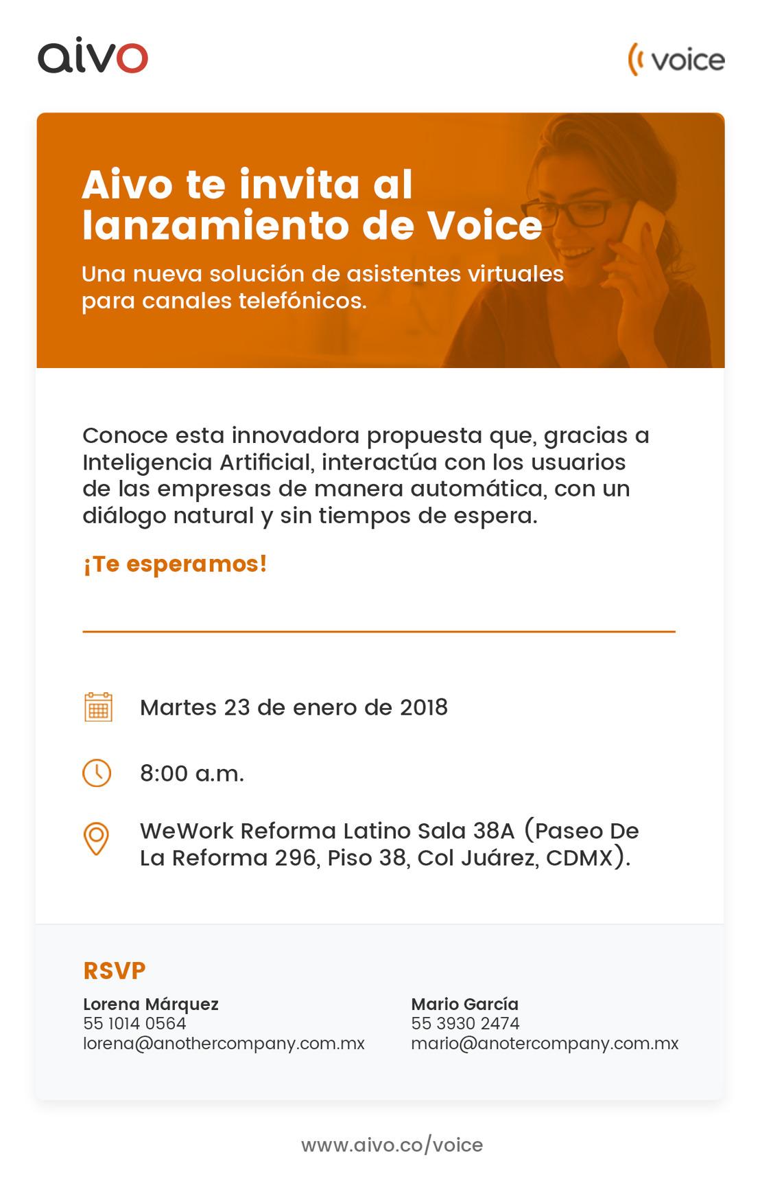 INVITACIÓN: Aivo te invita al lanzamiento de Voice