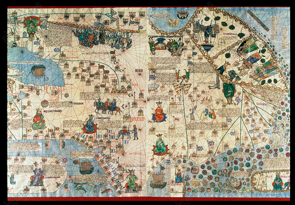 Catalan Atlas (1375), detail of Asia, reproduction from the Naval Museum of Madrid<br/>AKG5834517