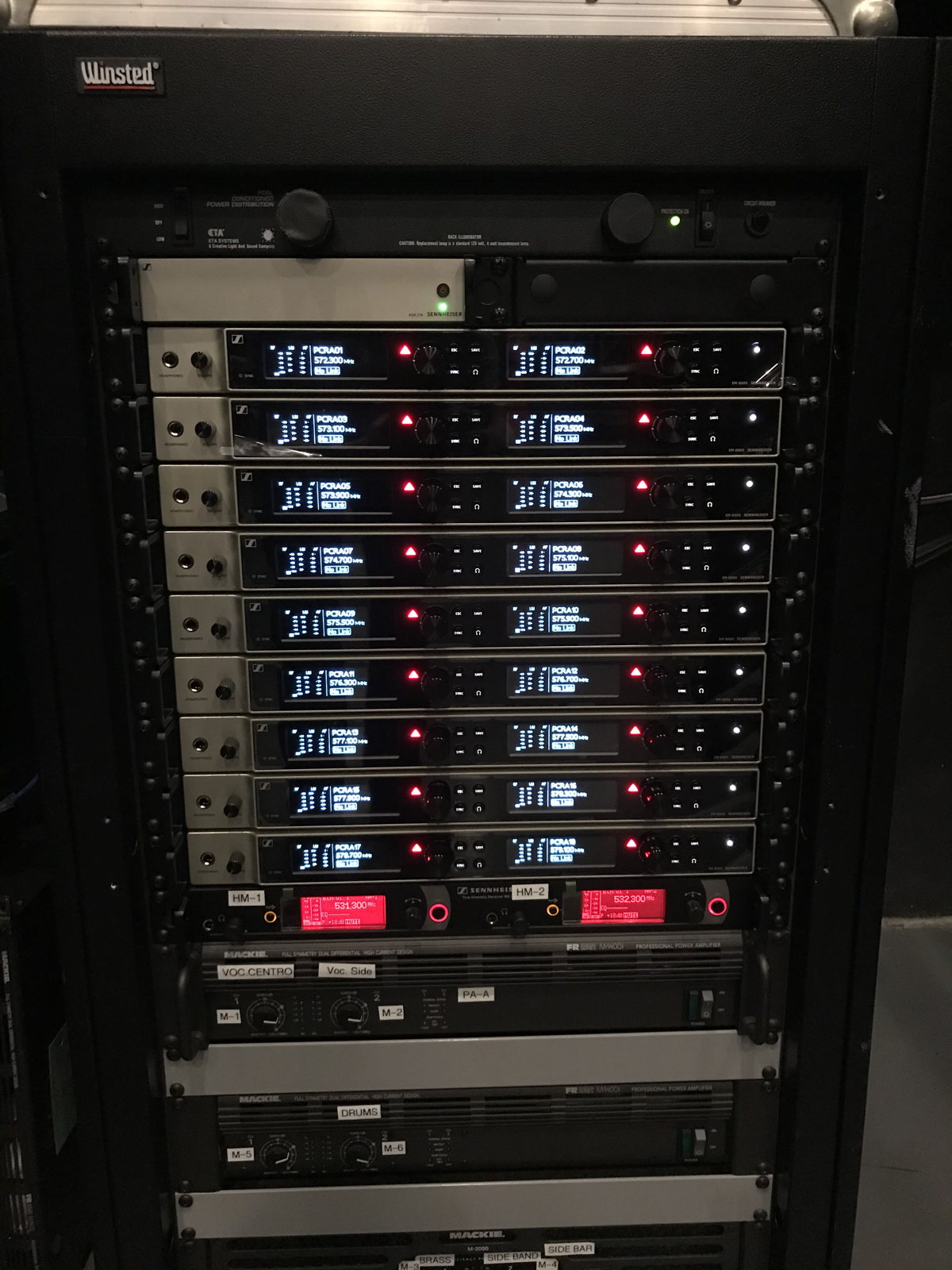 One of the Sennheiser racks at WKAQ