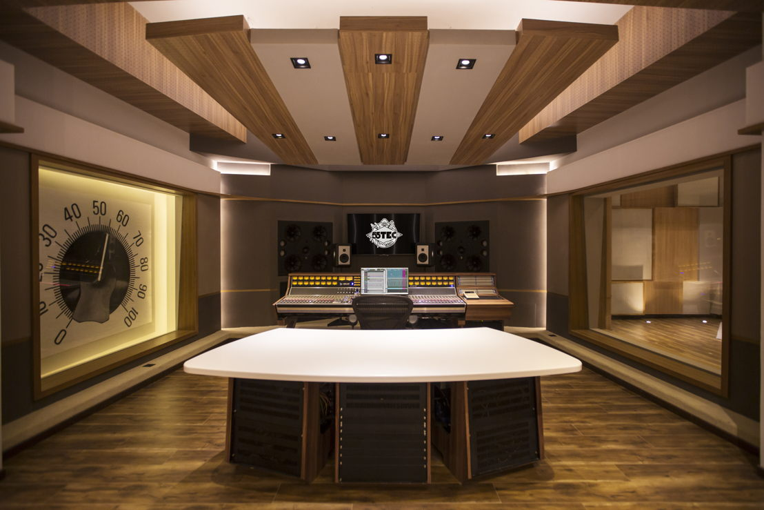 Beijing's 55TEC WSDG-designed Studio A Control Room (rear to front).  Live Room at right.