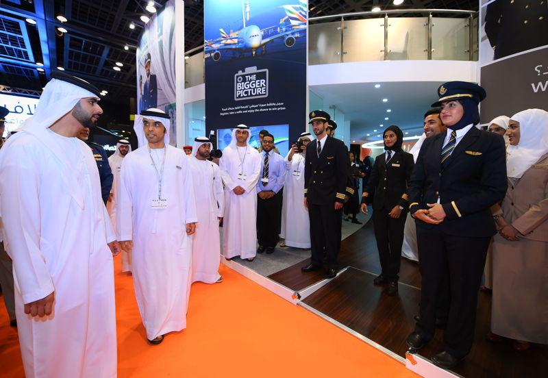 His Highness Sheikh Mansoor Bin Mohammed Bin Rashid Al Maktoum visiting the Emirates Group stand at Careers UAE 2016.
