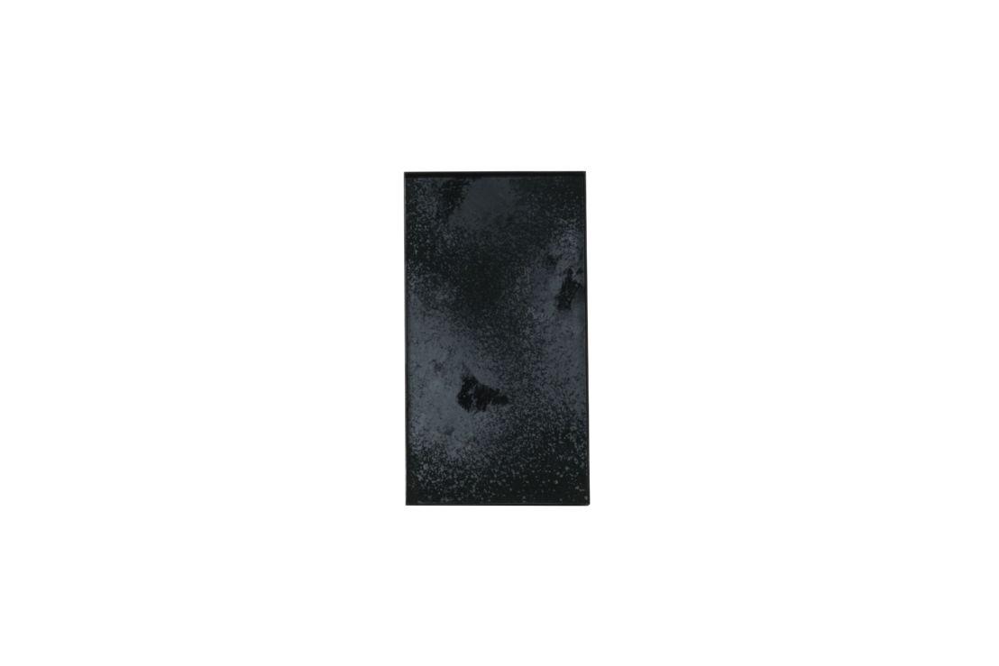 Charcoal Heavy Aged mini mirror tray-black metal rim