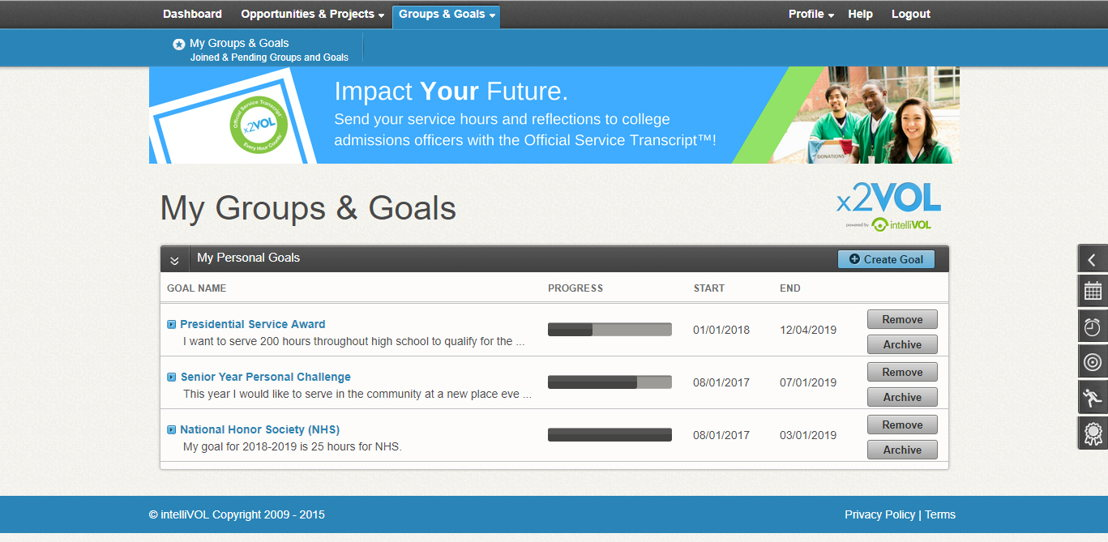x2VOL+ : Join groups and set goals for service hours