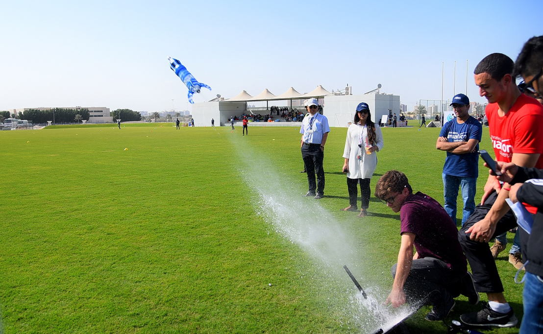 Students from Islamia English School in Abu Dhabi came out as the winners, achieving the highest distance of 90 metres with their uniquely-designed rocket