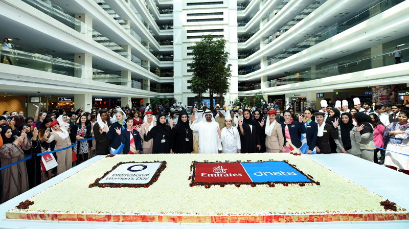 HH Sheikh Ahmed bin Saeed Al Maktoum, Chairman and Chief Executive, Emirates Airline and Group, celebrates International Women's Day at the Group's headquarters with staff.