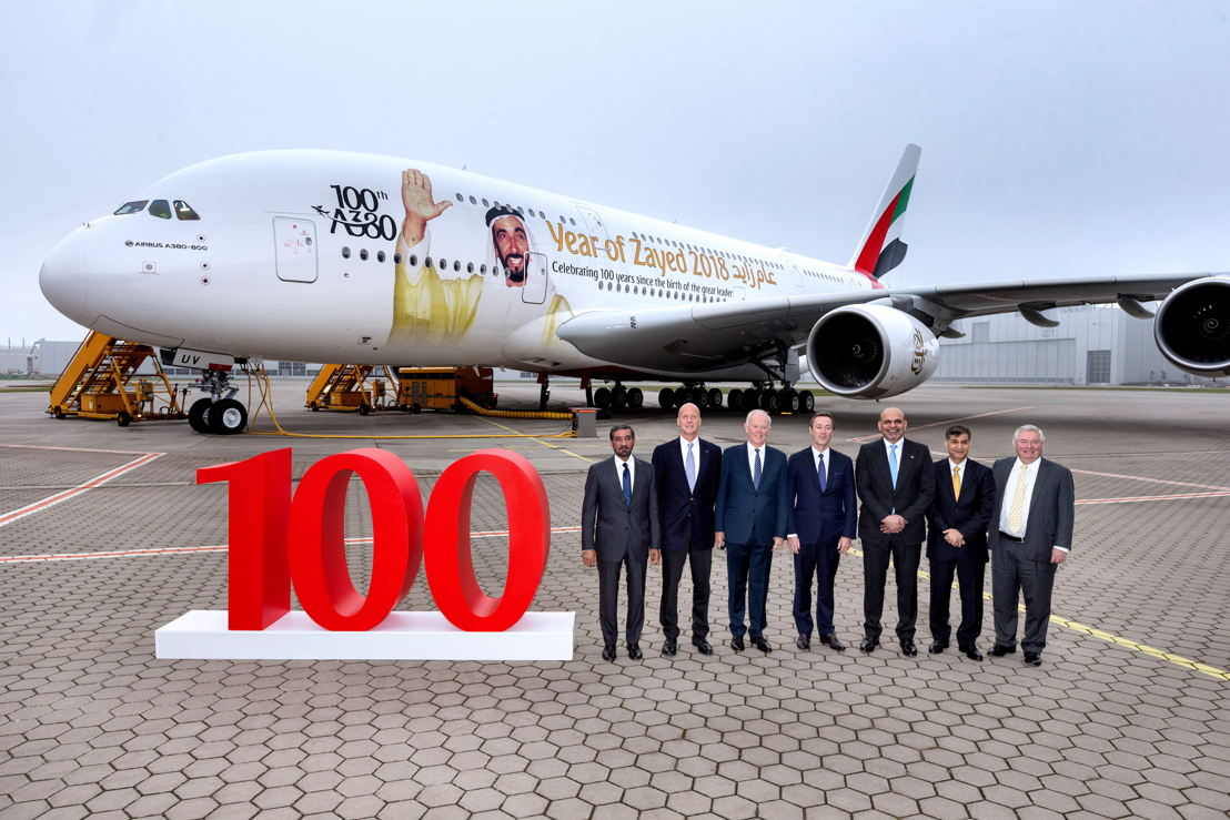 Emirates unveiled a special tribute to the late HH Sheikh Zayed bin Sultan Al Nahyan, founding father of the United Arab Emirates - bespoke livery on its 100th A380.<br/>From left to right: HH Sheikh Ahmed bin Saeed Al Maktoum, Chairman and Chief Executive Officer, Emirates Airline &amp; Group, Tom Enders, Chief Executive Officer of Airbus , Sir Tim Clark, President Emirates Airline , Fabrice Brégier, Chief Operating Officer of Airbus and President Commercial Aircraft , HE Ali Al Ahmed, UAE Ambassador to Germany , Adel Al Redha, Emirates Executive Vice President and Chief Operating Officer and John Leahy, Chief Commercial Officer – Customers – Commercial Aircraft of Airbus.