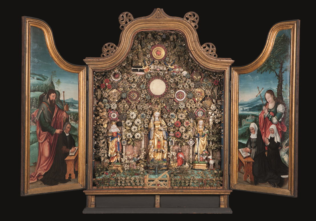 In Search of Utopia © Enclosed Garden with St Elisabeth, St Ursula and St Catharine, Mechelen, c. 1520–1530. Musea en Erfgoed Mechelen – Collectie Gasthuiszusters (Kik-irpa, Brussel).