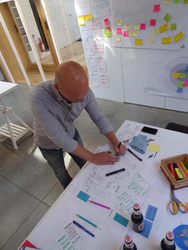 Prototypen tijdens de servicedesign-opleiding in de design studio. Fotografie: Namahn. Kristel Van Ael & Joannes Vandermeulen, Namahn - Henry van de Velde Lifetime Achievement Award 16