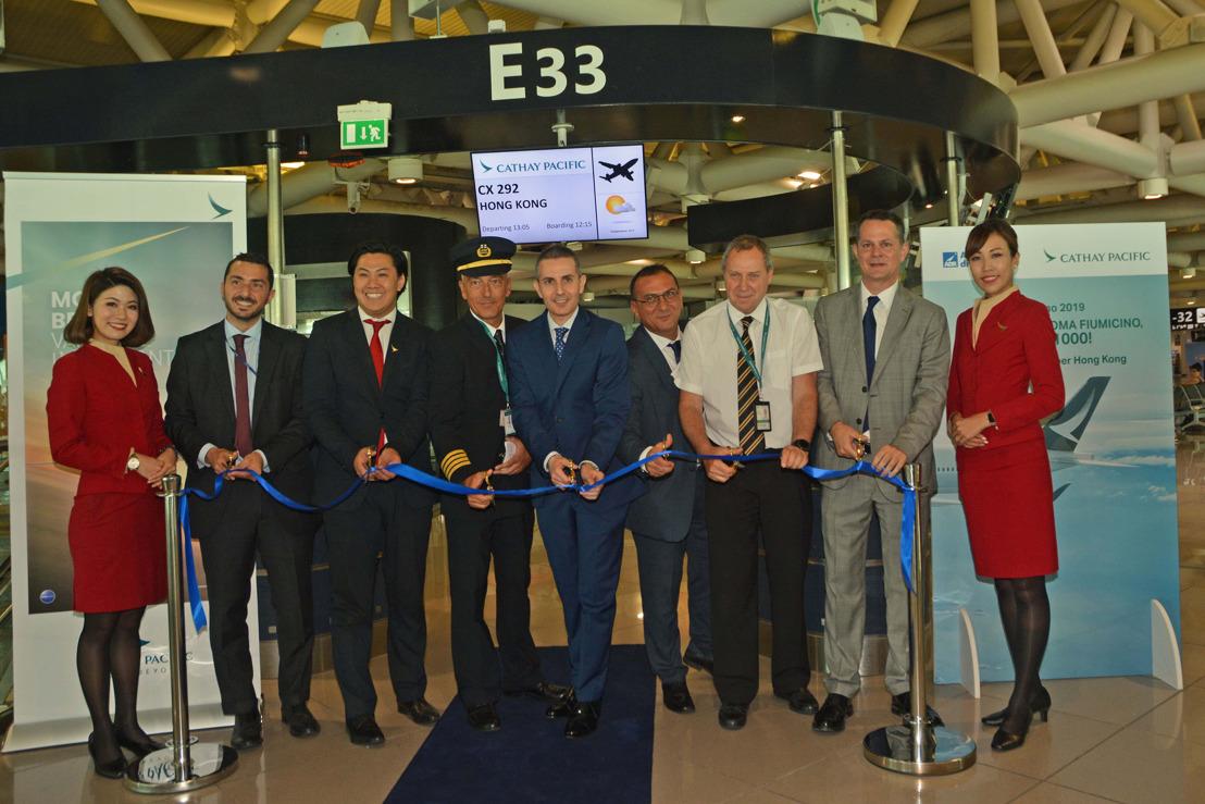 Cerimonia ufficiale per il debutto dell'A350-1000 di Cathay Pacific da Roma Fiumicino