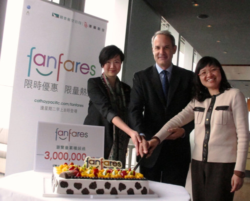 Cathay Pacific and Dragonair celebrate 3 million hits on 'fanfares' website