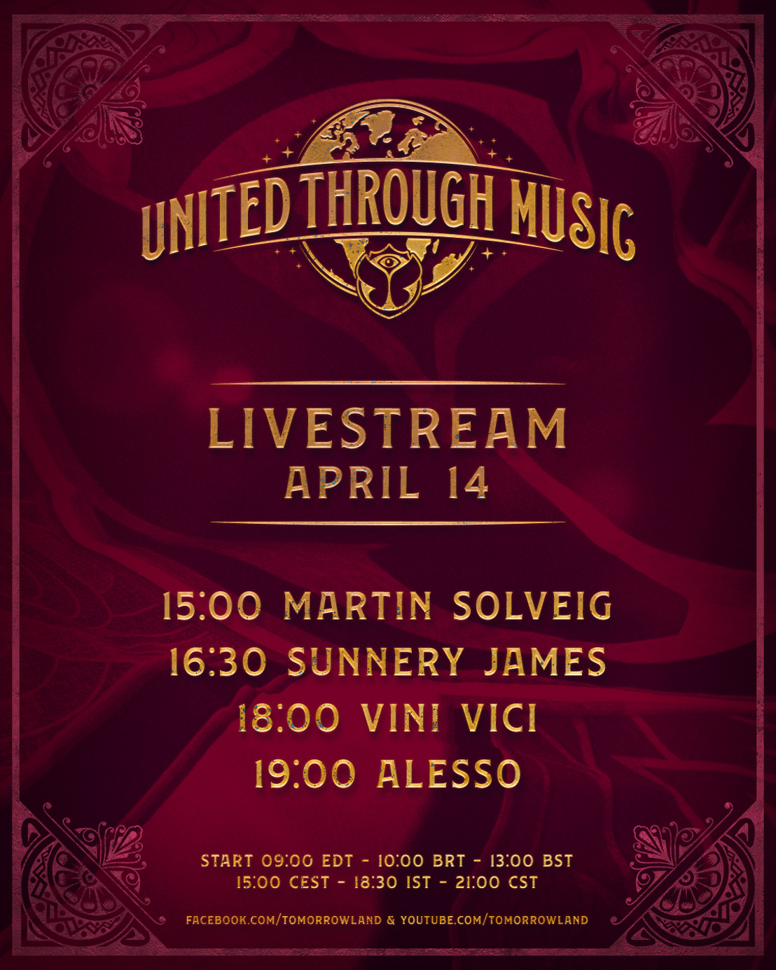 Alesso, Sunnery James, Martin Solveig and Vini Vici will perform unique live sets on 'Tomorrowland Presents: United Through Music'