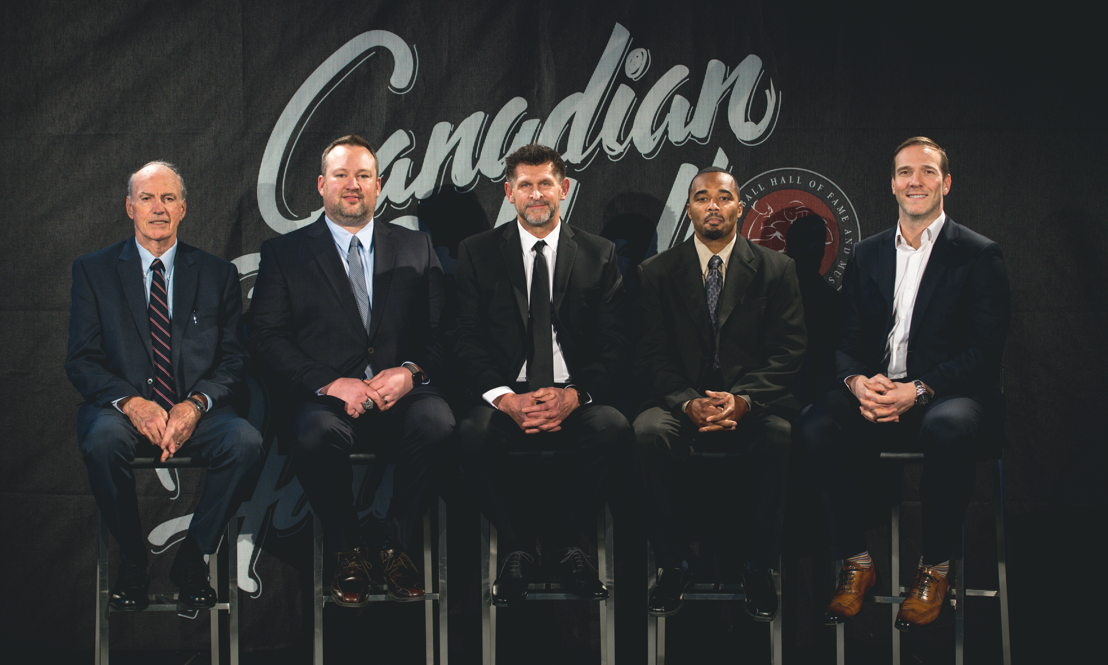 L>R: Frank Cosentino, Scott Flory, Hank Ilesic, Barron Miles, and Brent Johnson. The Canadian Football Hall of Fame Class of 2018. Photo credit: CFL.ca/Johany Jutras
