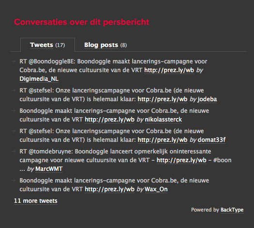 Display related conversations from Twitter and the blogosphere
