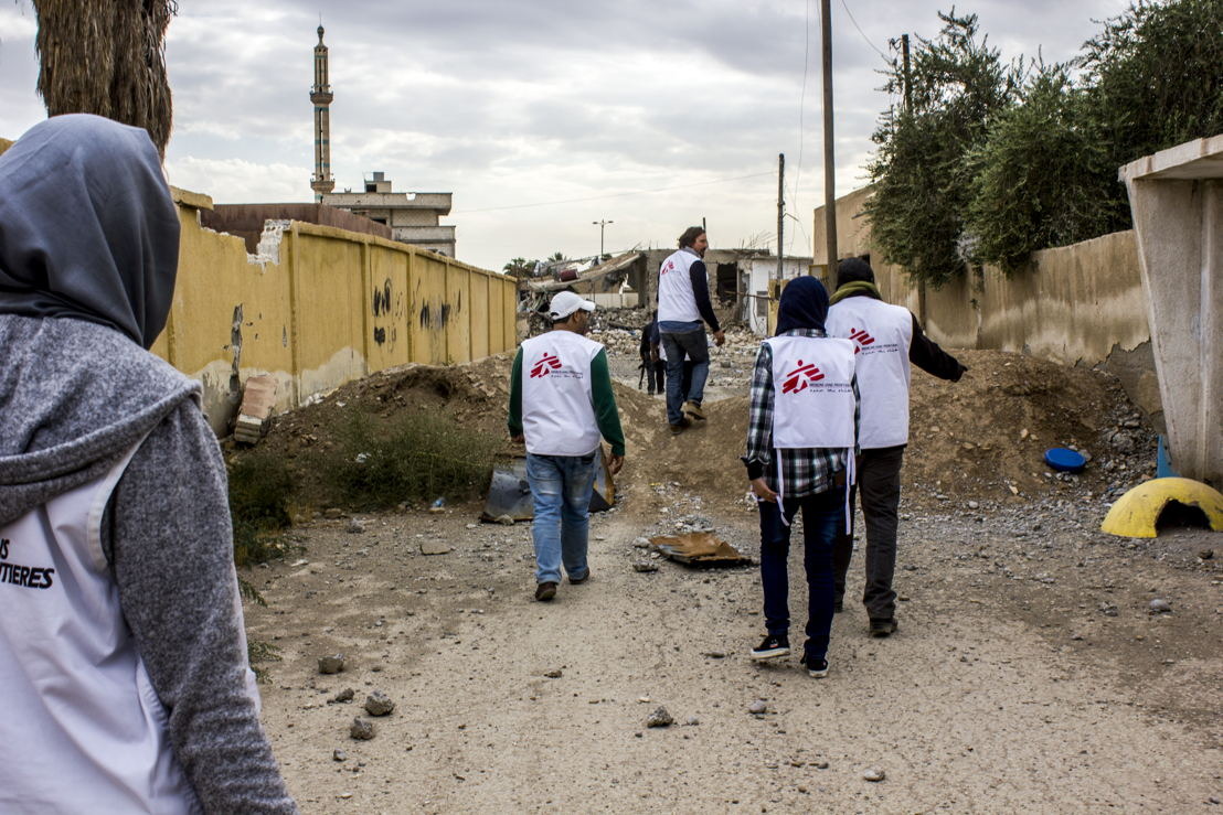 "MSF teams assessing the medical and humanitarian needs in Al Mishlab, east of Raqqa, 2 November. ""When we first visited Mishlab, east of Raqqa, it was a ghost town, but on our latest visit, some people had returned to check on their houses, Some found their homes in ruins; others found dead bodies and explosive devices in their houses, gardens and in the streets."" says Craig Kenzie, leader of MSF's Raqqa response team. Credit: Diala Ghassan/MSF"