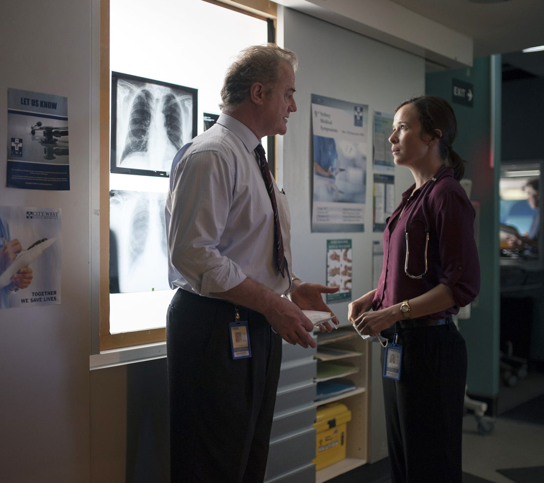 Owen Teale as Dr Chad Berger and Claire van der Boom as Dr Frankie Bell