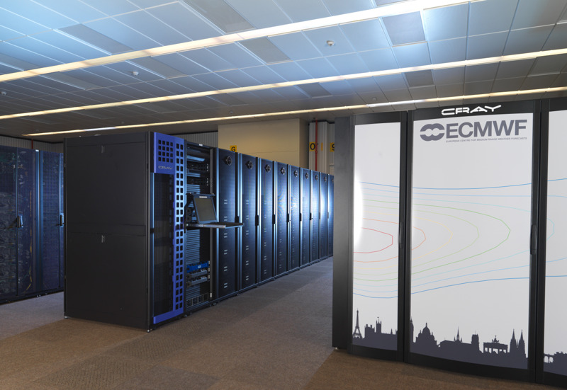 ECMWF&#039;s supercomputers - which use advanced, numerical modelling techniques to process observations and predict future global weather - are among the largest in Europe. <br/>Photo: A. Brookes/ECMWF Copernicus