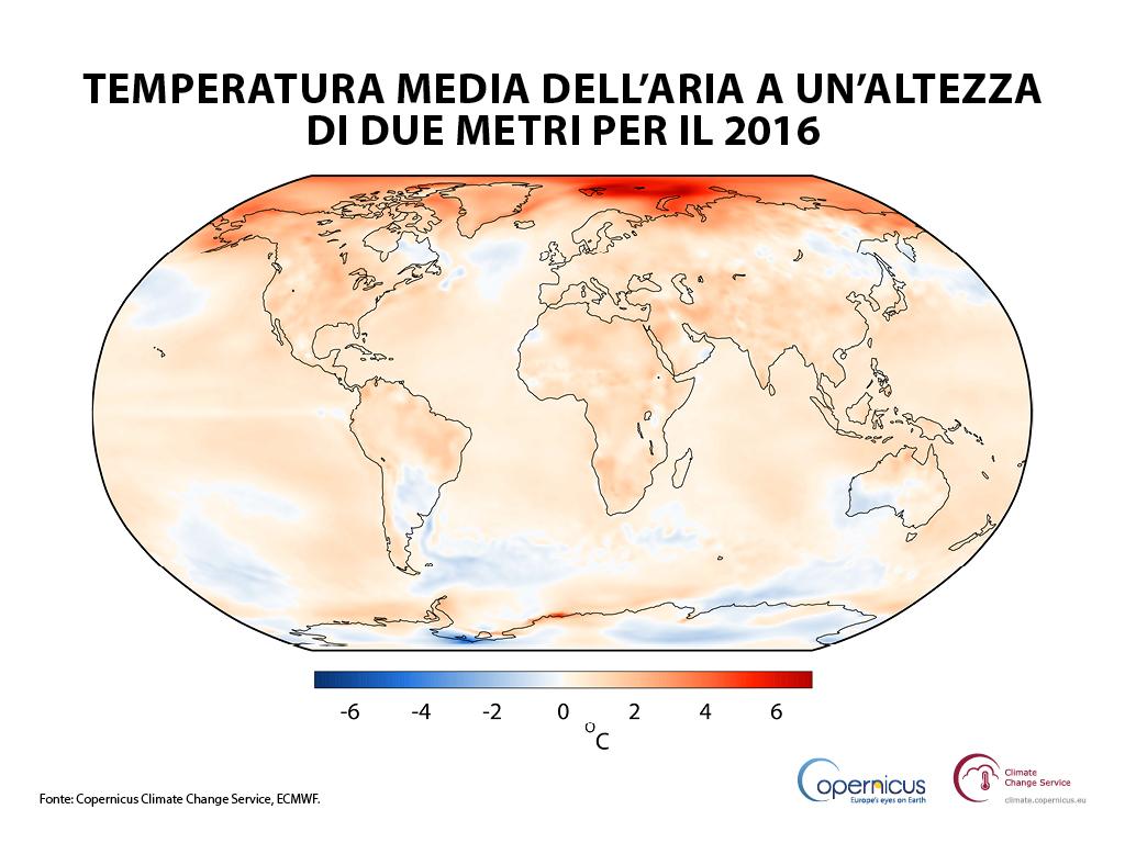 Temperatura dell'aria a un'altezza di due metri per il 2016, mostrata rispetto alla media del periodo 1981-2010.