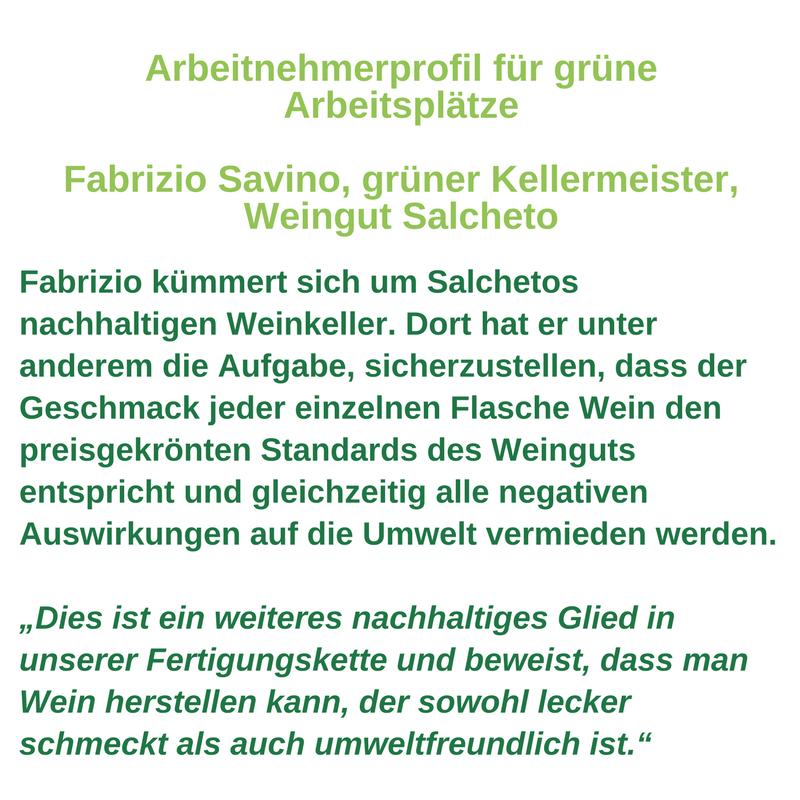 Arbeitnehmerprofil für grüne Arbeitsplätze - Fabrizio Savino