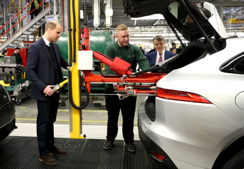 The Duke and Duchess of Cambridge visit Jaguar Land Rover in Solihull