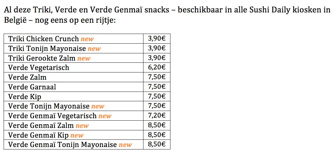 Triki, Verde en Verde Genmaï snacks beschikbaar in alle Sushi Daily kiosken in België