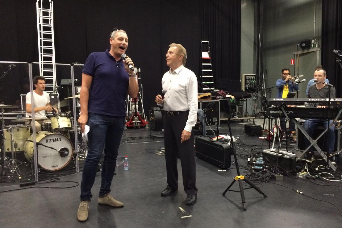 Gert Verhulst en Will Tura tijdens de repetitie voor Vlaanderen Feest