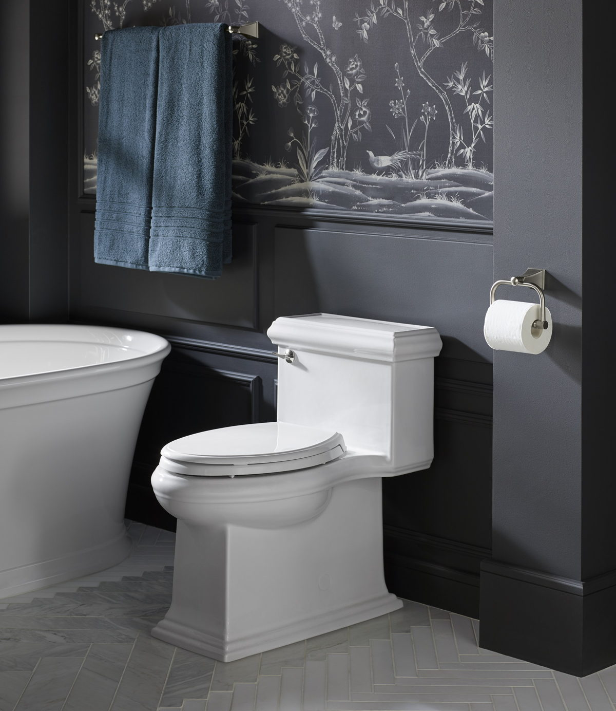Kohler Memoirs elongated skirted toilet. Image courtesy of Kohler.