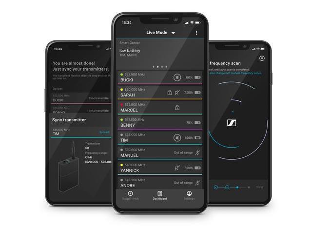 Der Techniker in der Tasche: Die Smart Assist App führt die Anwender durch die Einrichtung ihres kabellosen Mikrofonsystems