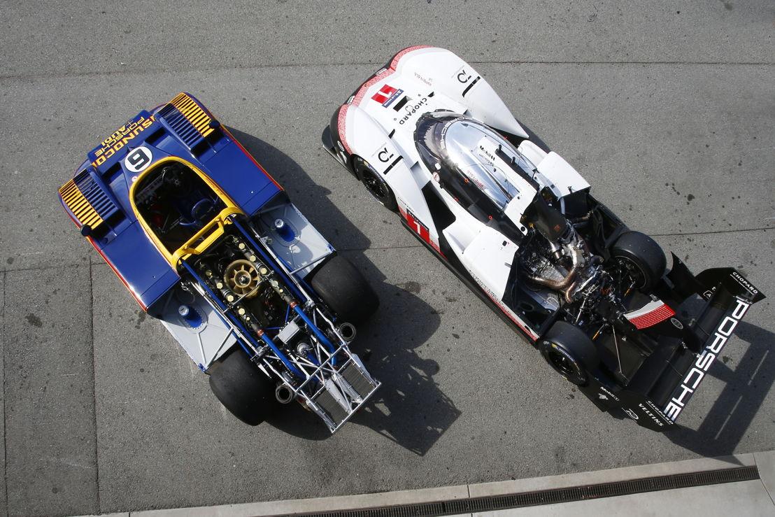 Porsche Rennsport Reunion VI, Laguna Seca: Porsche 917/30 (izq.) y Porsche 919 Hybrid Evo