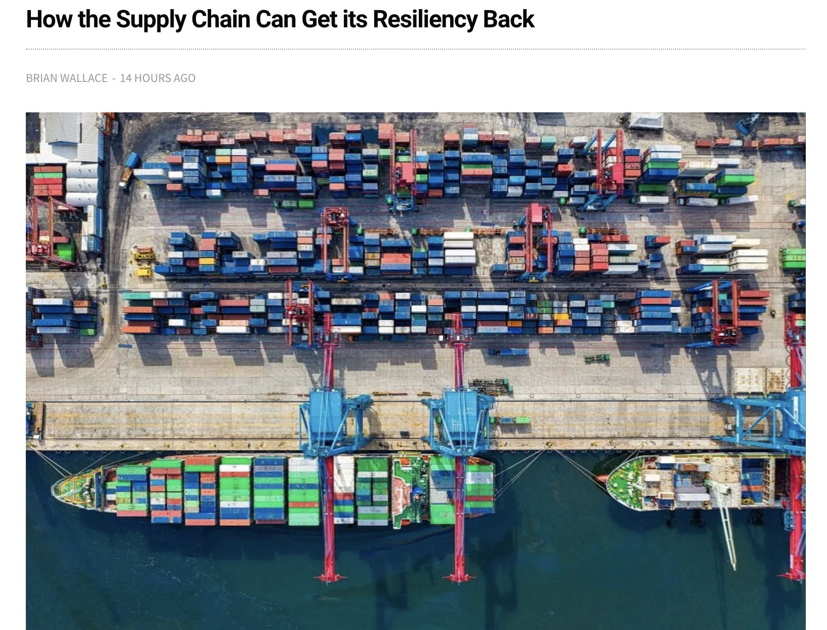 How the Supply Chain Can Get its Resiliency Back