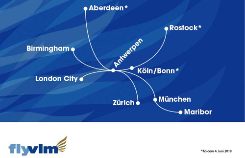 Neue Linienflugverbindungen von Antwerpen nach Köln/Bonn und Rostock ab Juni 2018