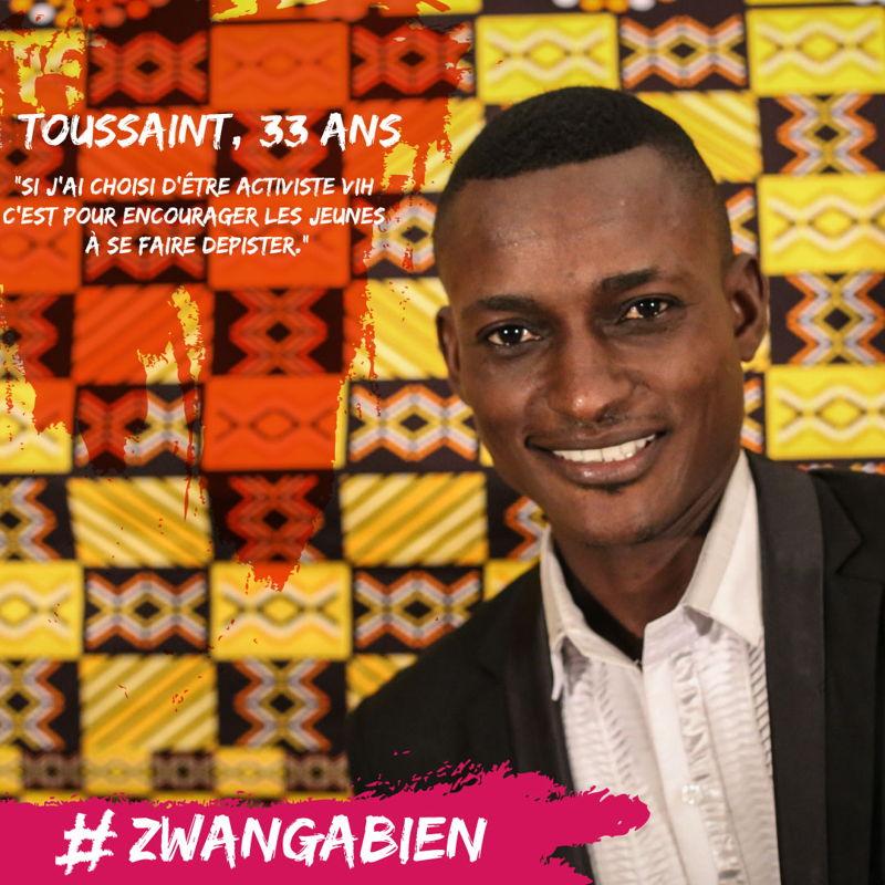 """Toussaint, 33 ans<br/><br/>""""Si j&#039;ai choisi d'être activiste VIH <br/>c'est pour encourager les jeunes <br/>à se faire depister."""" Photographer: MSF"""