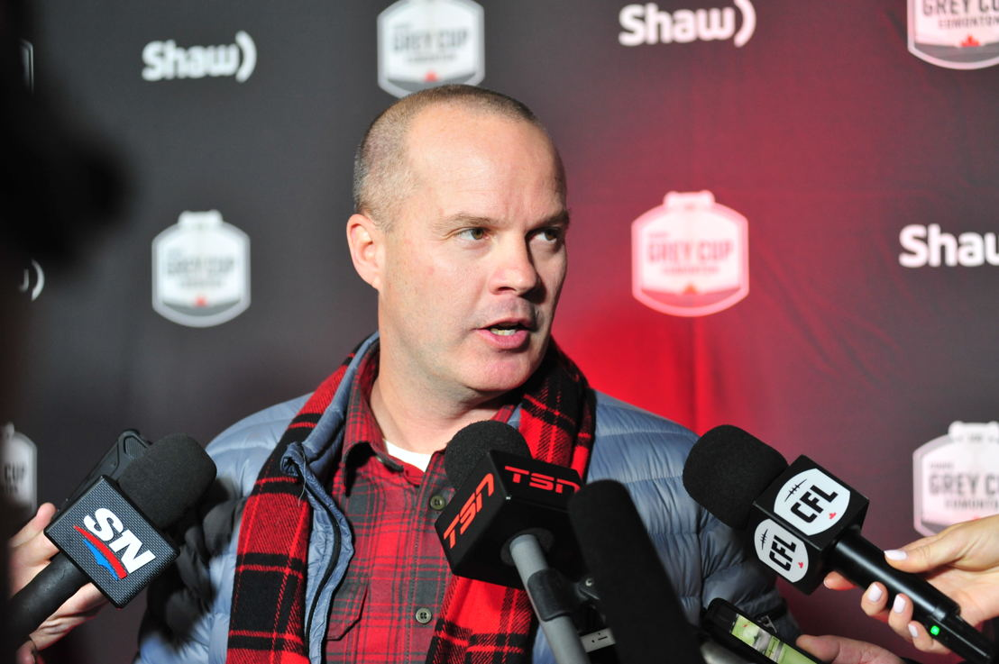 Ottawa REDBLACKS head coach Rick Campbell speaking to media at team arrivals today. Photo credit: Walter Tychnowicz/CFL.ca
